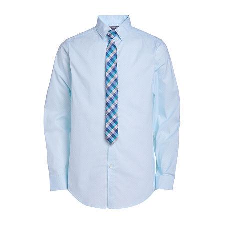 Van Heusen Big Boys Point Collar Long Sleeve Shirt + Tie Set, 16 , Blue