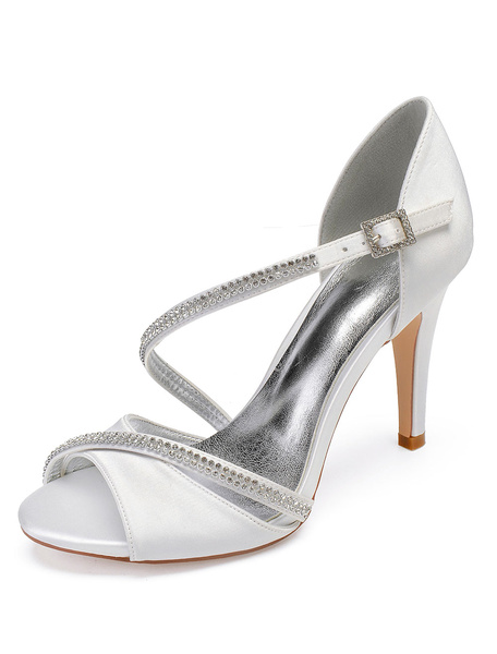 Milanoo Ivory Wedding Shoes Satin Peep Toe Rhinestones Strappy Mother Shoes High Heel Bridal Shoes