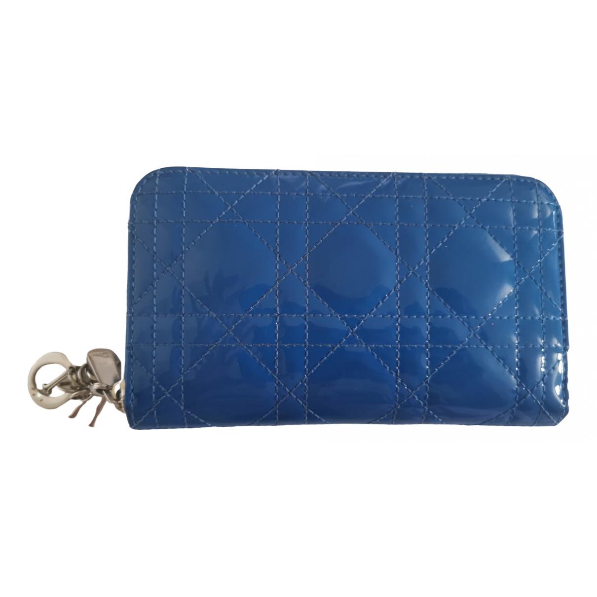 Dior - Portefeuille Lady Dior pour femme en cuir verni - bleu