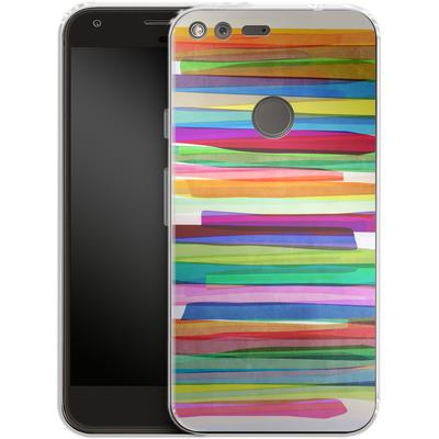 Google Pixel XL Silikon Handyhuelle - Colorful Stripes 1 von Mareike Bohmer