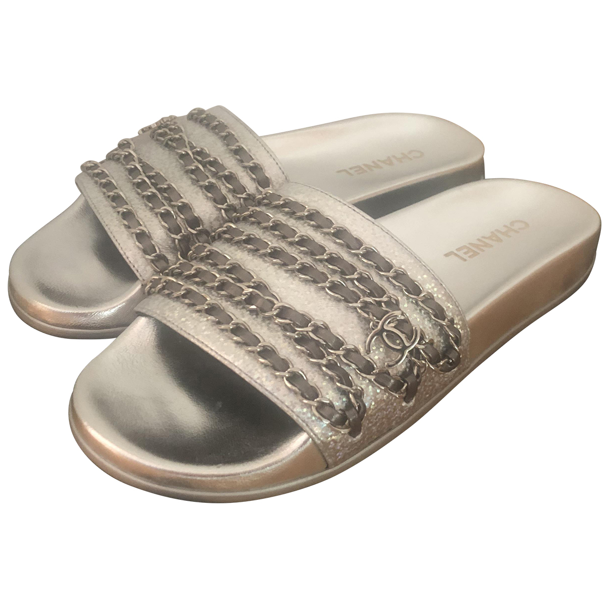 Chanel \N Silver Leather Mules & Clogs for Women 40 EU