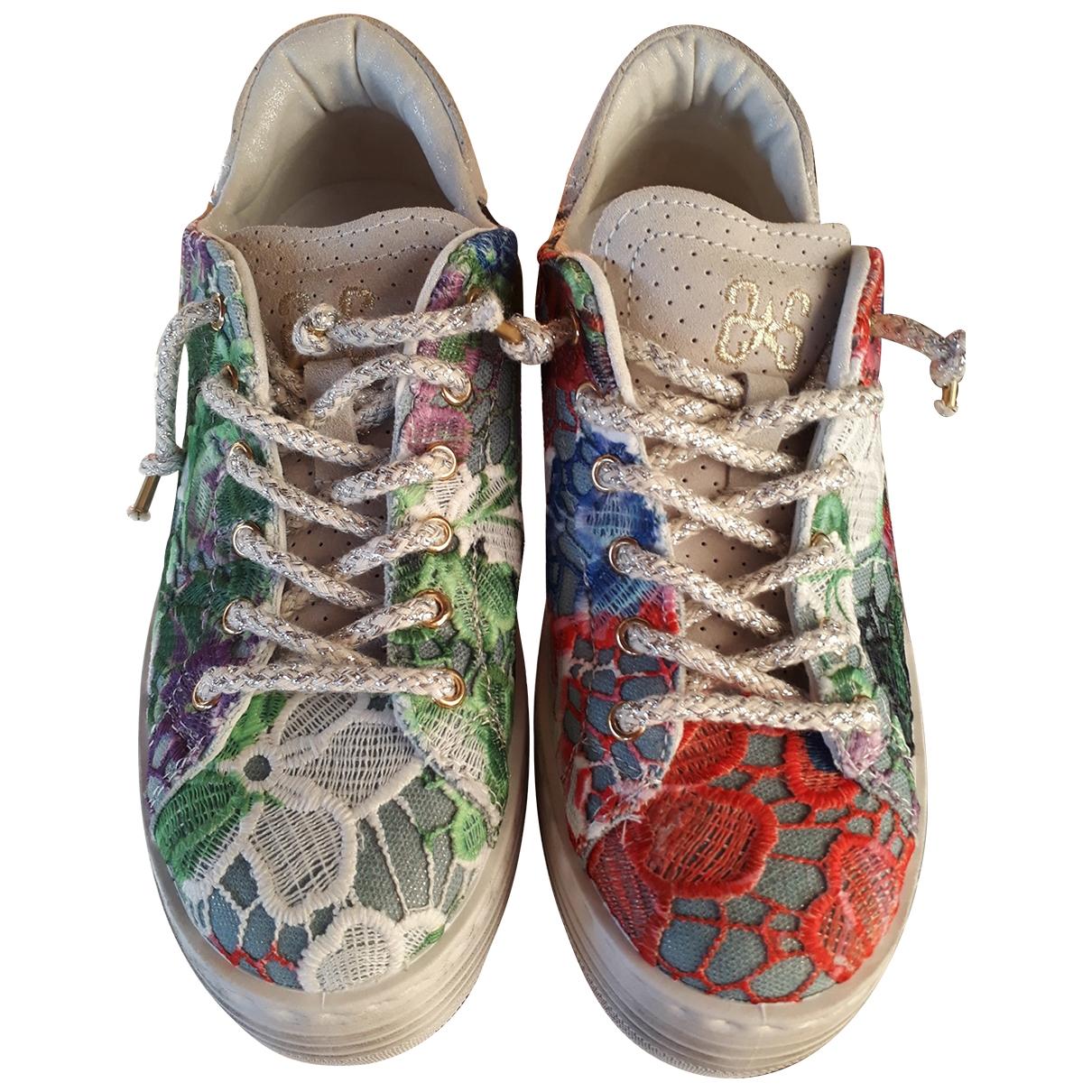 - Baskets   pour femme en cuir - multicolore