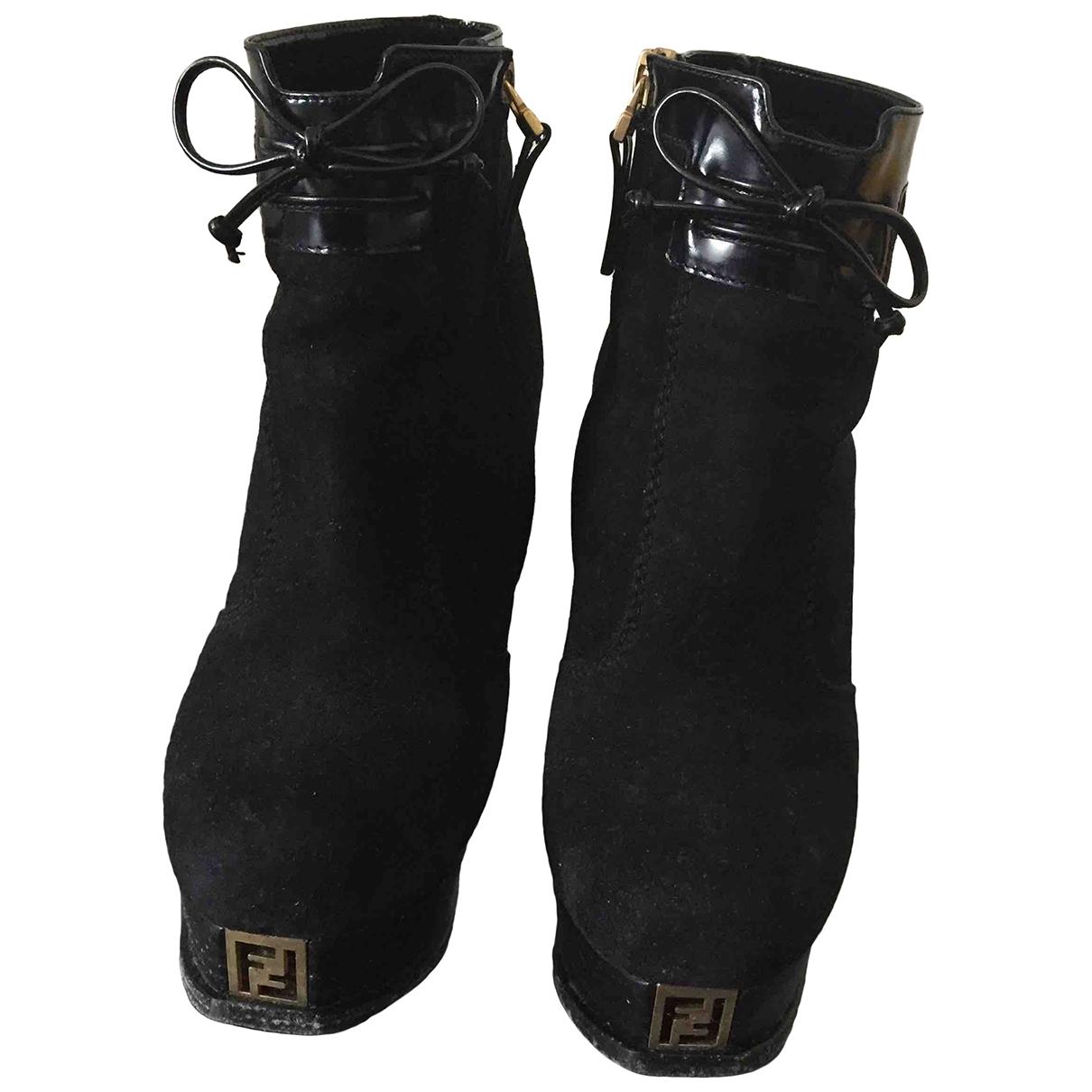 Fendi - Bottes   pour femme en suede - noir