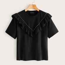 Schwarz Mit Perlen  Einfarbig Suess T-Shirts