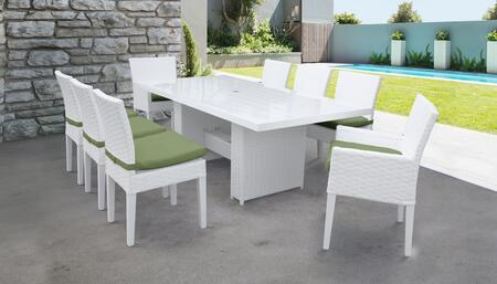 MONACO-DTREC-KIT-6ADC2DCC-CILANTRO Monaco 9-Piece Outdoor Patio Dining Set with Rectangular Table + 6 Side Chairs + 2 Arm Chairs - Sail White and