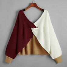Plus Twist Front Colorblock Sweater