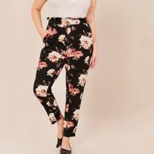 Grosse Grossen - Hose mit Papiertasche Taille, schraegen Taschen und Blumen Muster