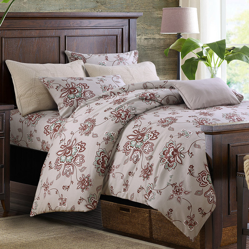 Classic Flower Printing Reactive Printing Three-Piece Set Duvet Cover Set Polyester Bedding Sets