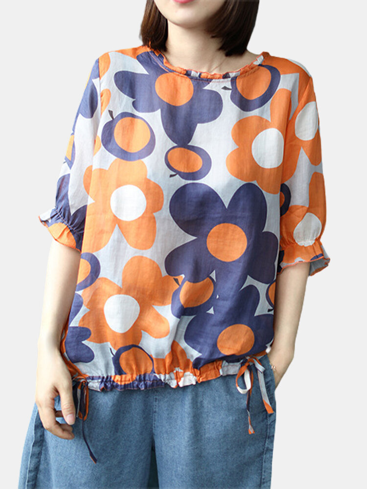 Floral Print Half Sleeve Casual T-Shirt For Women