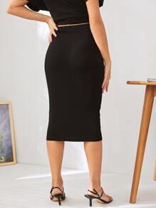 Maternity Elastic Waist Solid Pencil Skirt