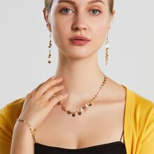 4pcs Disc Tassel Decor Jewelry Set