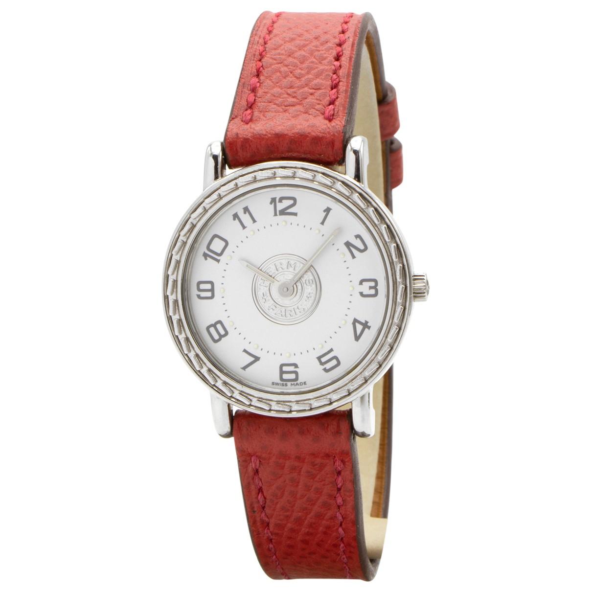 Hermes Sellier Uhr in  Rot Stahl