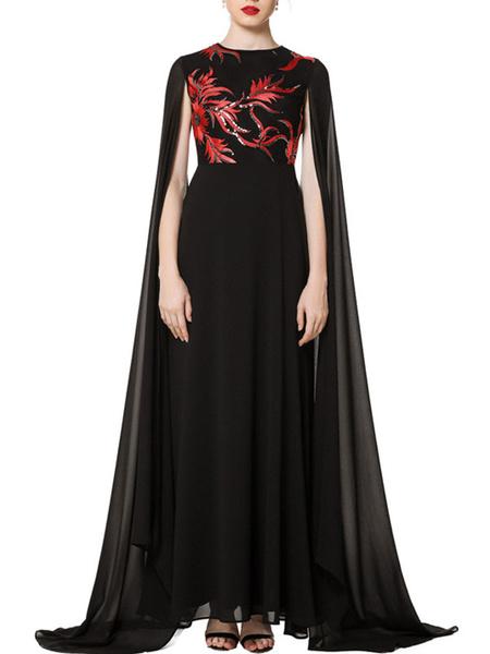 Milanoo Vestidos de fiesta para mujer Vestido semiformal en capas con bordado de manga larga con cuello joya negro