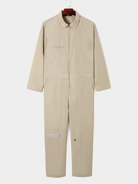 Yoins Men Casual Fashion Zipper Multi-pocket Long Sleeve Overalls Jumpsuit