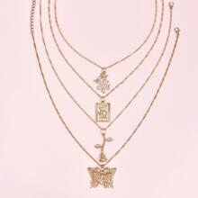 4pcs Chinese Dragon Pendant Necklace