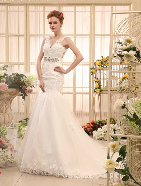 Milanoo Mermaid Rhinestone Chapel Train Ivory Wedding Dress For Bride with V-Neck Tulle
