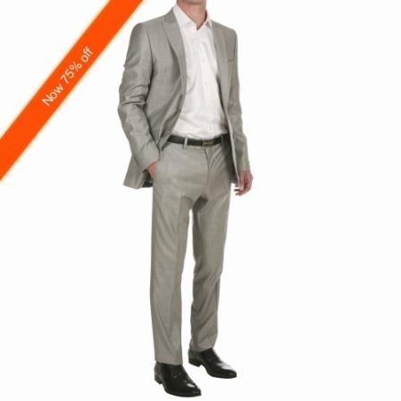 Mens 2Button Silver Fitted Suit