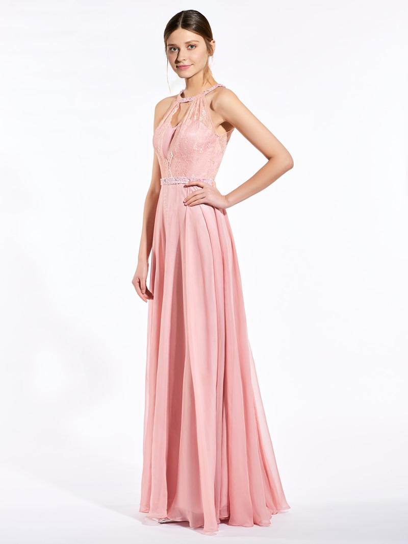 Ericdress Popular Halter Beaded Lace Long Bridesmaid Dress