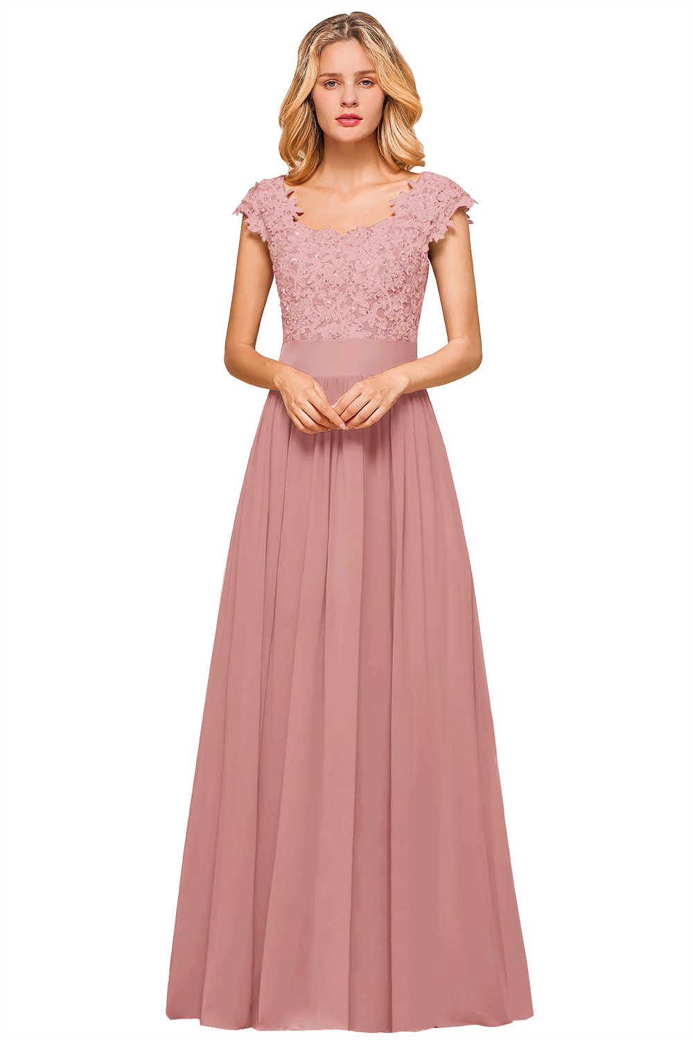 BMbridal Elegant Long Chiffon Prom Dress With Lace Appliques On Sale
