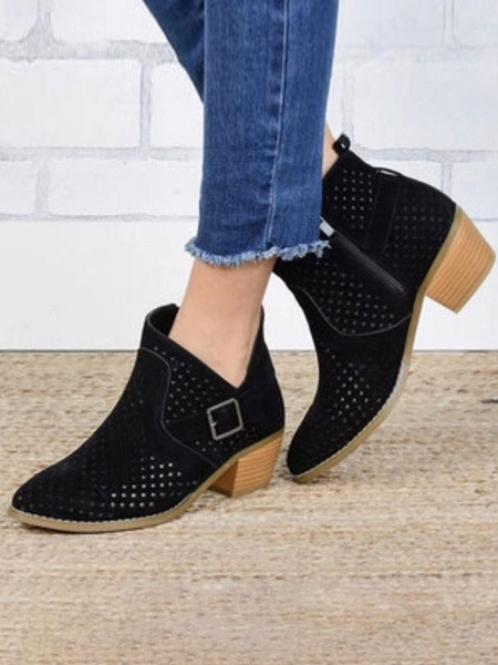 Milanoo Suede Short Boots Women Pointed Toe Buckle Slip On Summer Boots