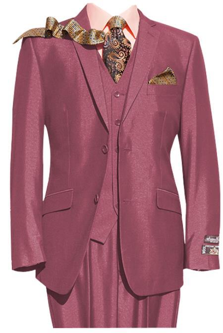 Mens Pink 2 Button 3 Piece Notch lapel Suit