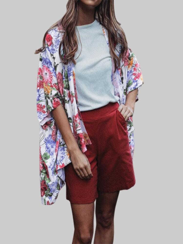 Floral Print Short Sleeve Irregular Hem Plus Size Kimono