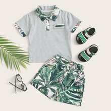 Camisa polo de niñitos panel en contraste con shorts con estampado tropical