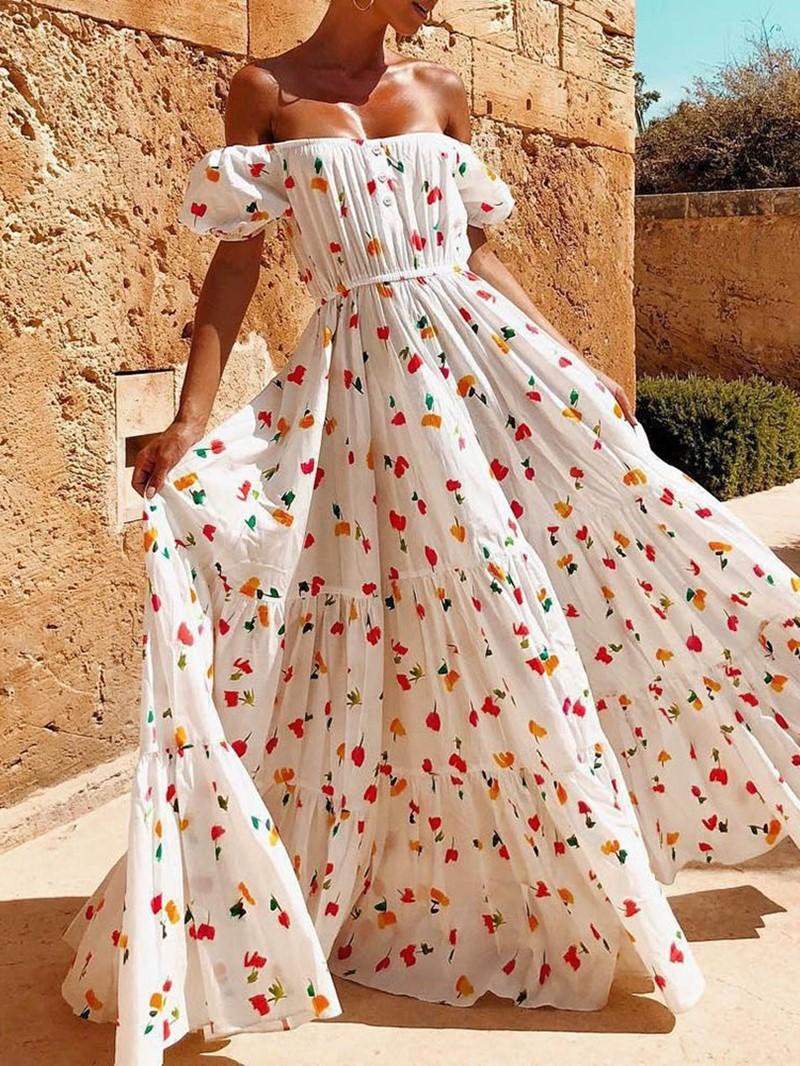 Ericdress Short Sleeve Print Floor-Length High Waist Party Dress