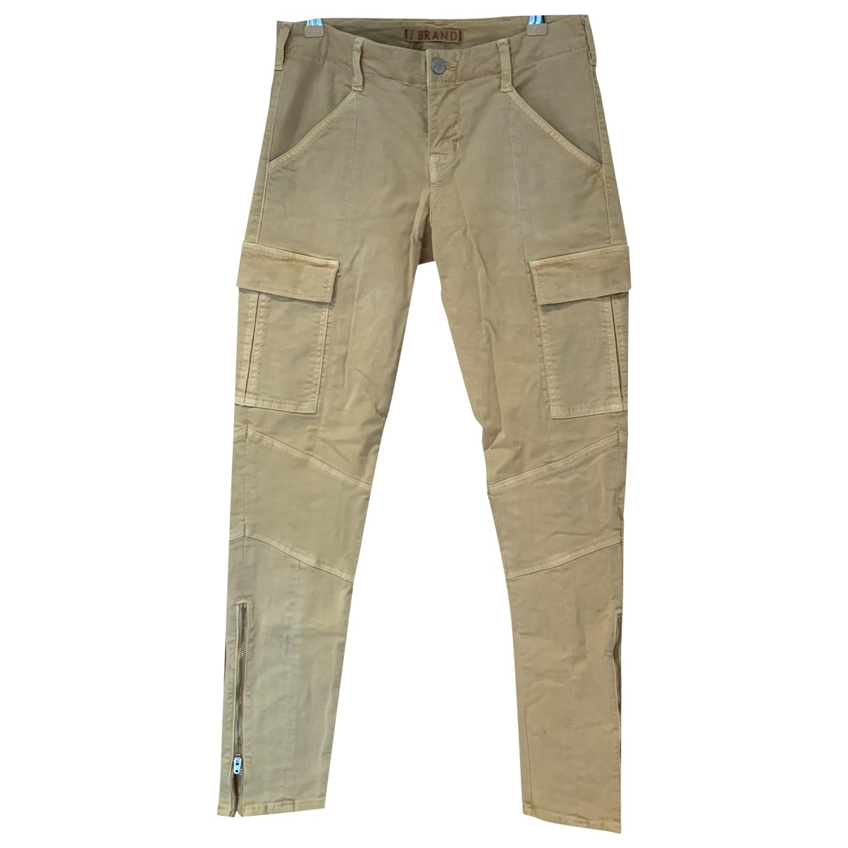 J Brand \N Yellow Cotton Trousers for Women 36 FR