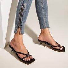 Minimalist Toe Post Kitten Heels Sandals