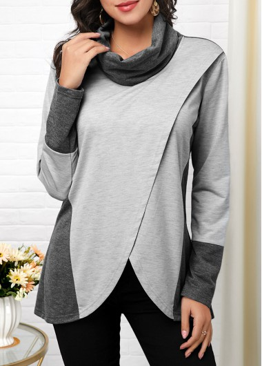 Women'S Grey Cowl Neck Tulip Hem Contrast Panel Long Sleeve T Shirt Asymmetric Hem Tunic Casual Top By Rosewe - XXL