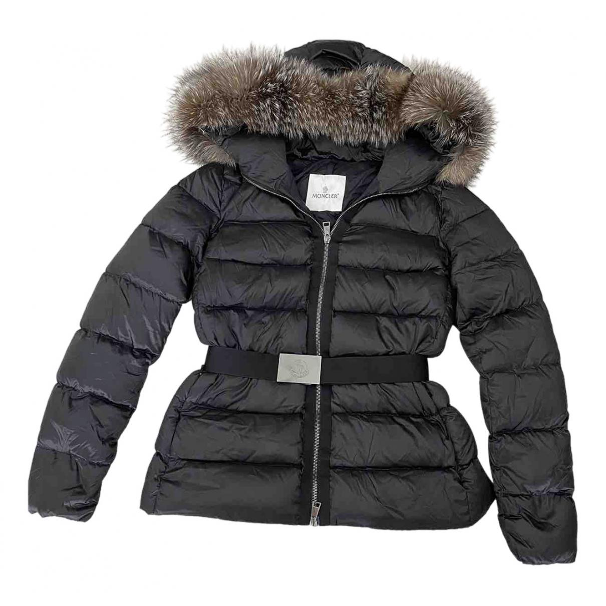 Moncler Fur Hood Maentel in  Schwarz Polyester