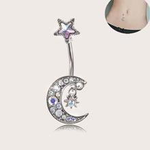 Anillo de vientre con diseño de luna grabada con diamantes de imitacion de 1 pieza