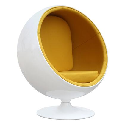 Ball Colelction FMI1150-YELLOW Chair with Pedestal Base  Round Shape  Contemporary Style  Fiberglass Frame and Cotton Material in Yellow