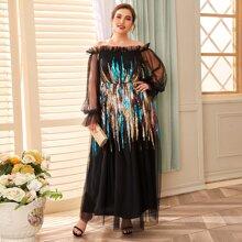 Plus Contrast Sequin Ruffle Trim Bardot Mesh Dress