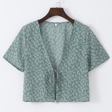 Daisy Floral Print Knot Front Top