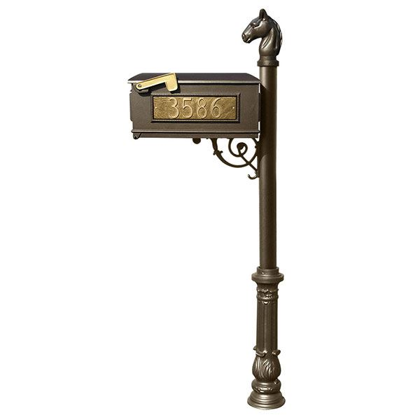 Lewiston Equine Mailbox with Post, Horsehead Finial, and Ornate Base, Bronze with Gold Lettering