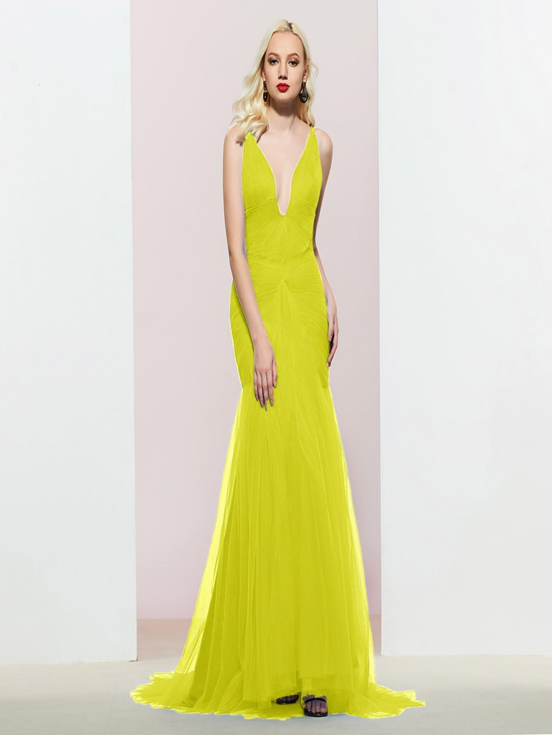 Ericdress Floor-Length V-Neck Mermaid Evening Dress