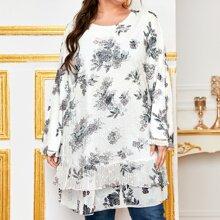 Tunik Bluse mit Blumen Muster und Netzstoff