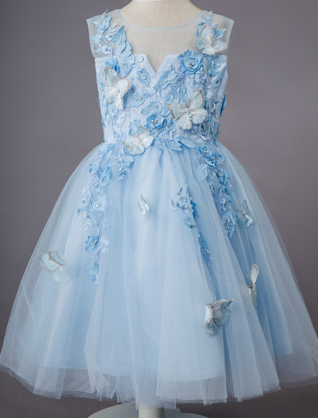 Milanoo Wedding Flower Girl Dress Kids Formal Party Dresses Baby Blue Lace Tulle Knee Length Butterfly Princess