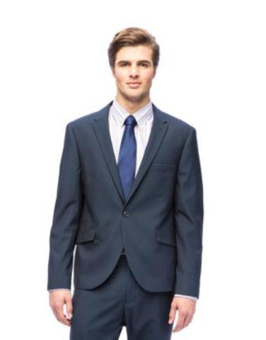 West End Mens Slim Fit Navy Peak Lapel 1 button Suit