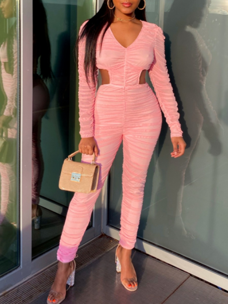 LW lovely Trendy Fold Design Hollow-out Pink One-piece Jumpsuit