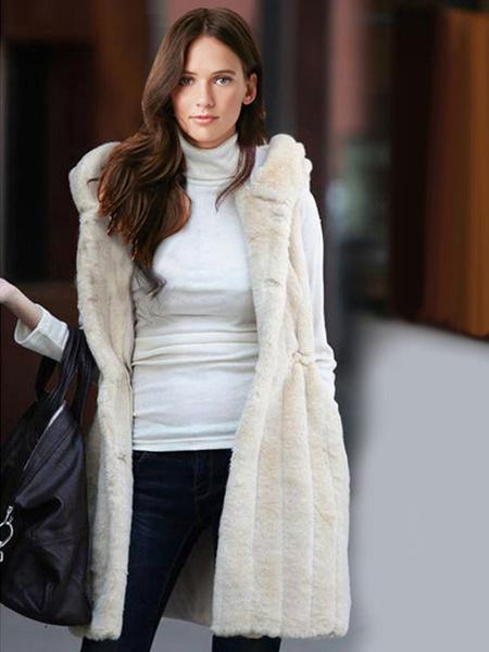 Milanoo Faux Fur Vest Women White Coat Hoodie Jacket Sleeveless Faux Fur Coat
