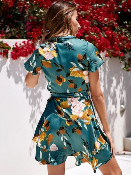 Milanoo Floral Tea Dress Women Summer Dresses Short Sleeve V Neck Wrap Dress