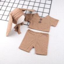Newborn Unisex Button Detail Top & Short & Rabbit Hat Photo Outfit