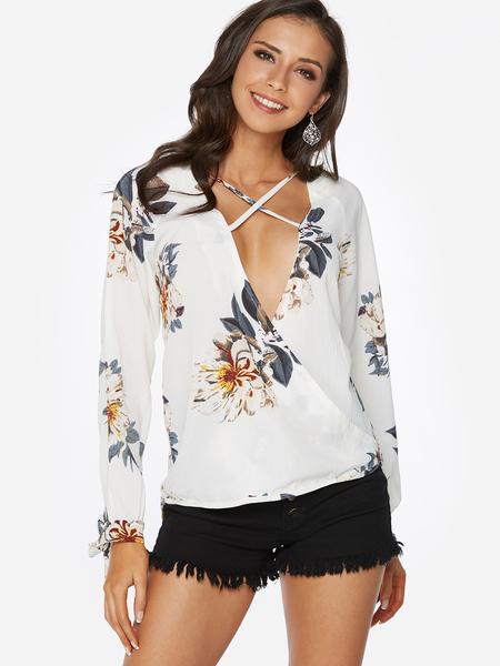 Yoins White Crossed Front Design Random Floral Print V-neck Long Sleeves Blouse