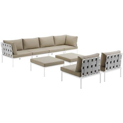 Harmony Collection EEI-2624-WHI-BEI-SET 8-Piece Outdoor Patio Aluminum Sectional Sofa Set with 4 Armless Chairs  2 Corner Sofas and 2 Ottomans in