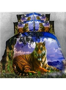 Stunning 3D Tiger Digital Printing 5-Piece Comforter Sets