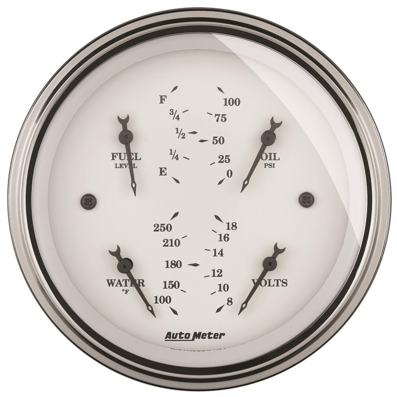 AutoMeter GAUGE; QUAD; 3 3/8in.; 0OE-90OF; ELEC; OLD TYME WHITE