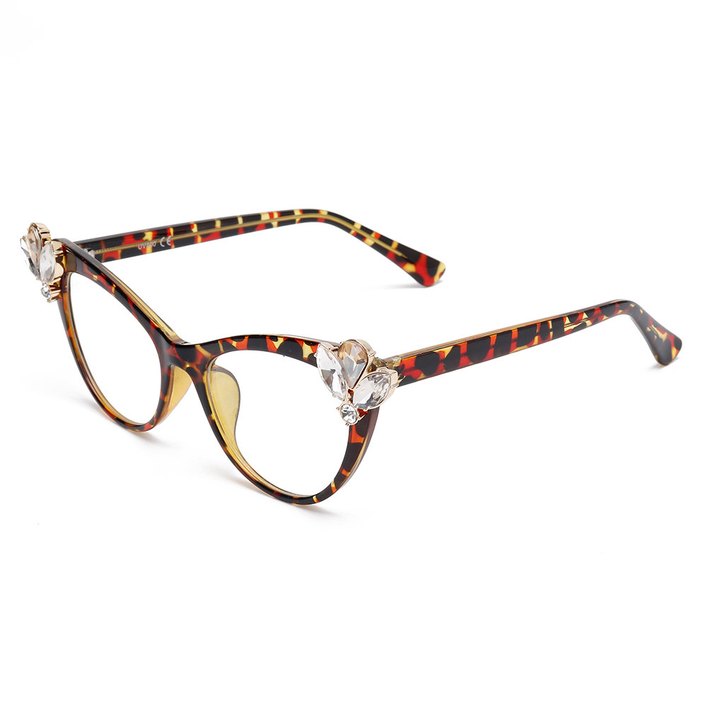 Women Men Vogue Personality Party Cat Eye Diamond Style Clear Lens Glasses